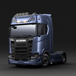 2712607 Scania light bar for high roof, short with strobe flasher LED. Lamp brackets in high position.