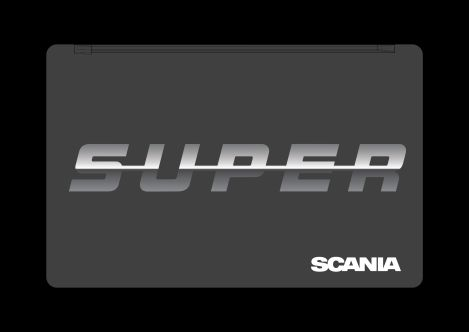 Stænklapper bag med Scania SUPER-logo.
