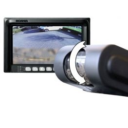 Rear view camera with cleaning mechanism