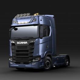 2712606 Scania light bar for high roof, short with LED. Lamp brackets in high position.