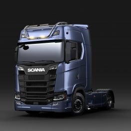 2706676 Scania light bar for high roof, long with strobe flasher LED. Lamp brackets in high position.