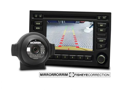 Rear view camera with guidelines