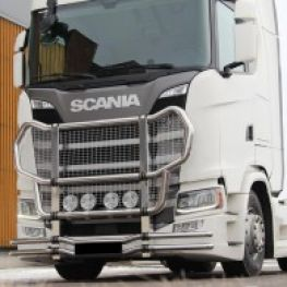 Stainless steel front protection bars - KAMA for Scania NTG, R&S cabs.